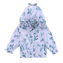 Toddler Girls Cactus Print Zipper Sunproof Jacket