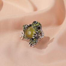 Cat Eye Stone Frog Ring