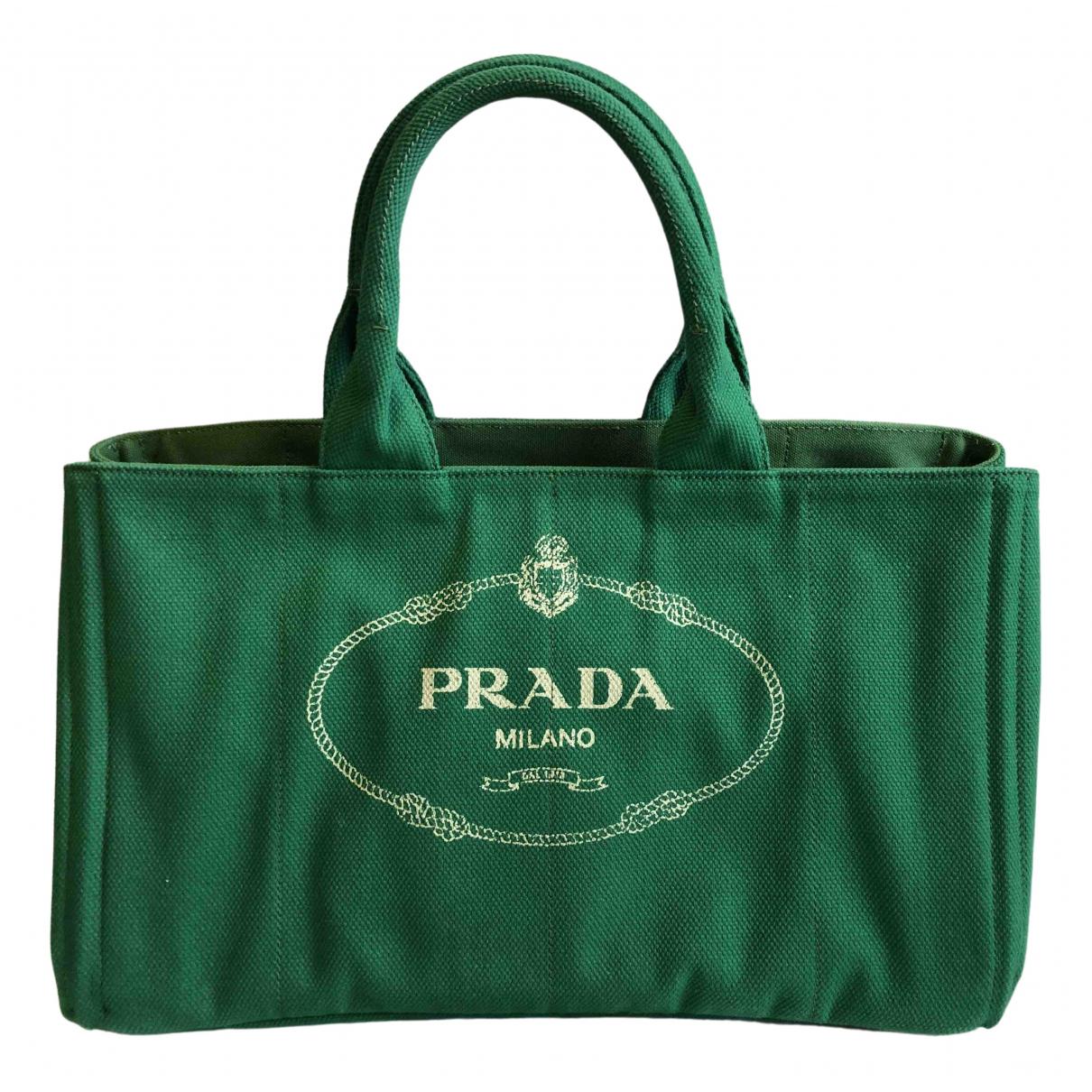 Prada - Sac a main   pour femme en toile - vert