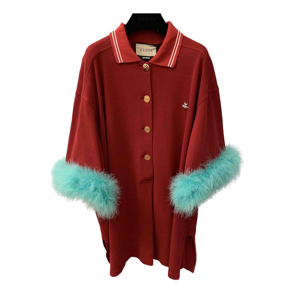 Gucci - Top   pour femme en coton - bordeaux