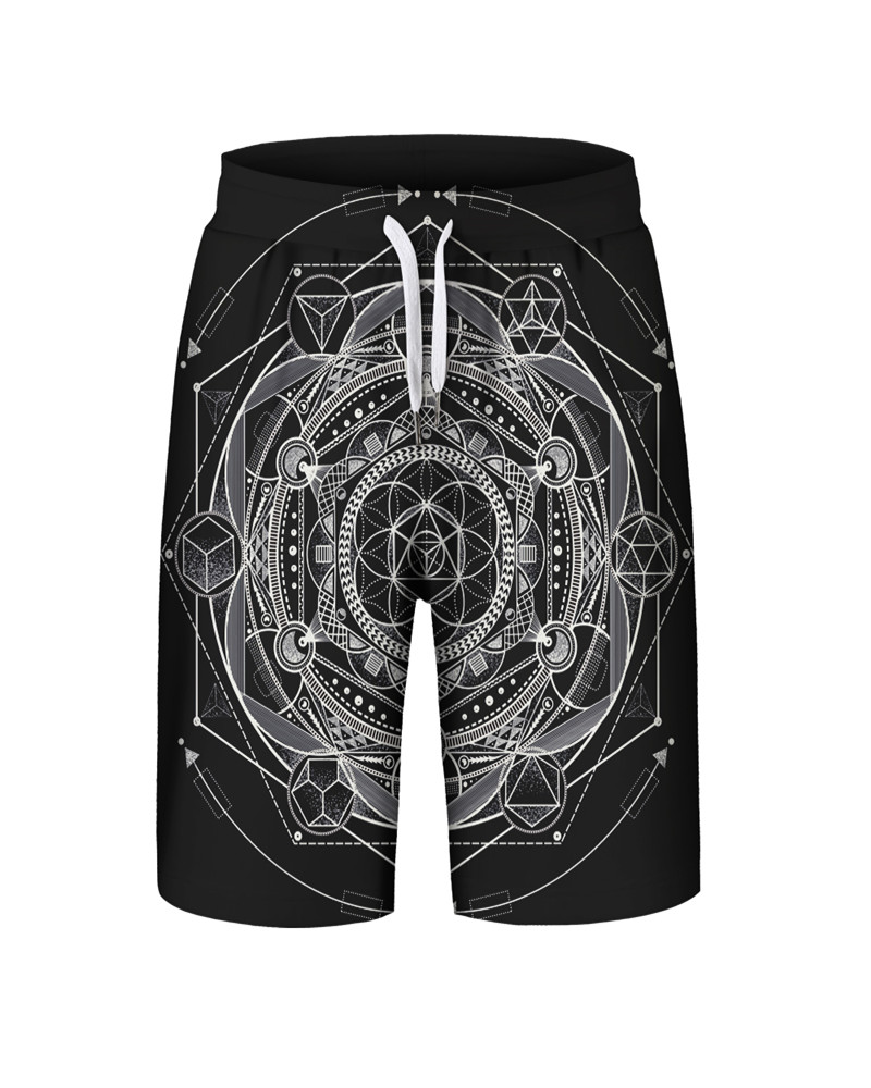Geometric Pattern Polyester Material Loose Model 3D Embellishment Beach Shorts