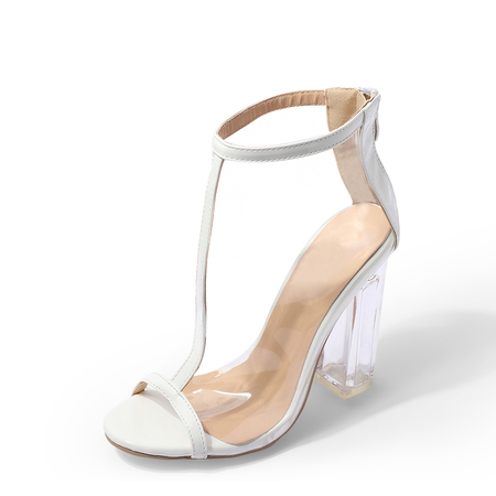 Yoins White T-strap Peep Toe Transparent Sandals with Chunky Heels
