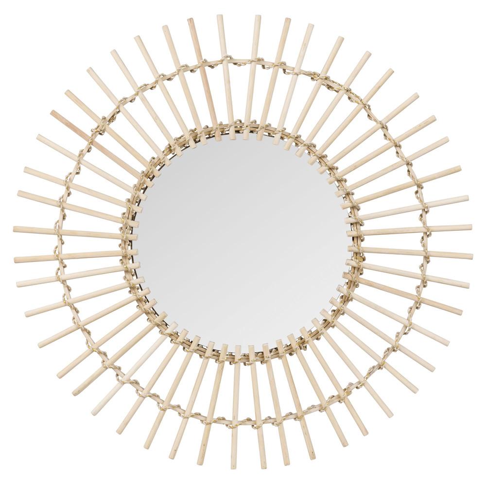 Runder Spiegel mit Bambusrahmen D.55