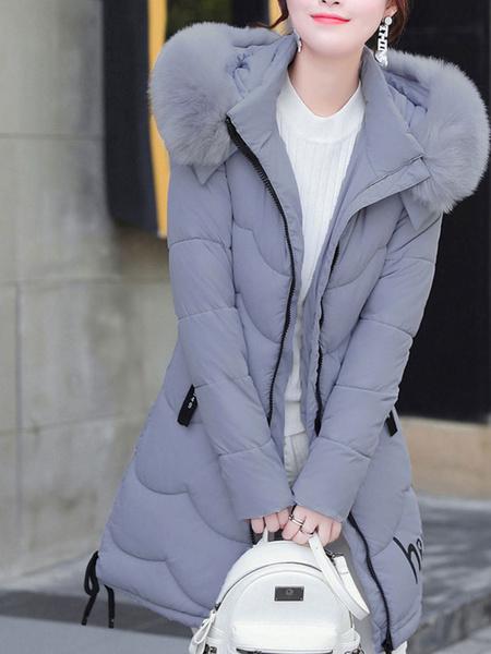 Milanoo Mujeres Puffer Abrigo de piel sintetica con capucha Burbuja Abrigo de invierno acolchado