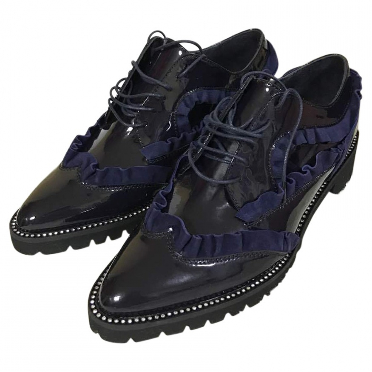 Sonia By Sonia Rykiel \N Navy Leather Lace ups for Women 38 EU