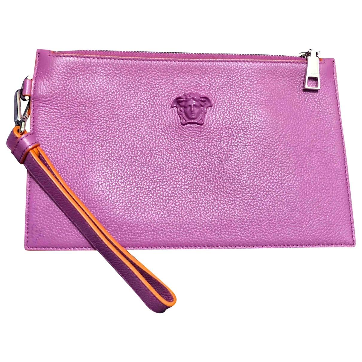 Versace - Pochette   pour femme en cuir - rose