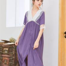 Floral Lace Button Front Night Dress