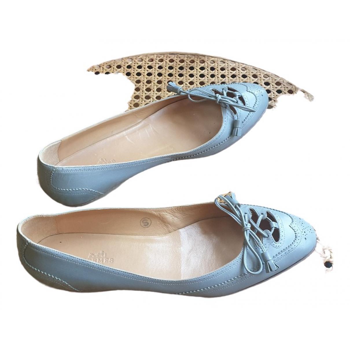Hermes \N Ballerinas in  Blau Leder