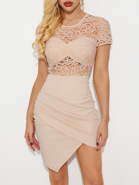 YOINS Beige Hollow Lace Patchwork Ruched Short Sleeves Dress