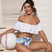 Palm Print Tiered Layer High Waisted Bikini Swimsuit