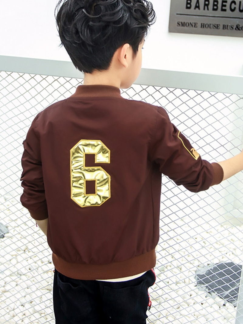 Ericdress Number Print Zipper Baseball Boys' Jacket