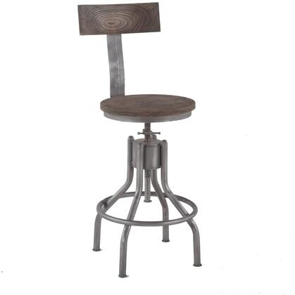 Artezia Collection ZWATDC18WG-2X Set of 2 Reclaimed Teak Adjustable Bar Stools in