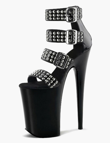 Milanoo Sexy Platform Studded Open Toe PU Leather Sexy Sandals For Woman