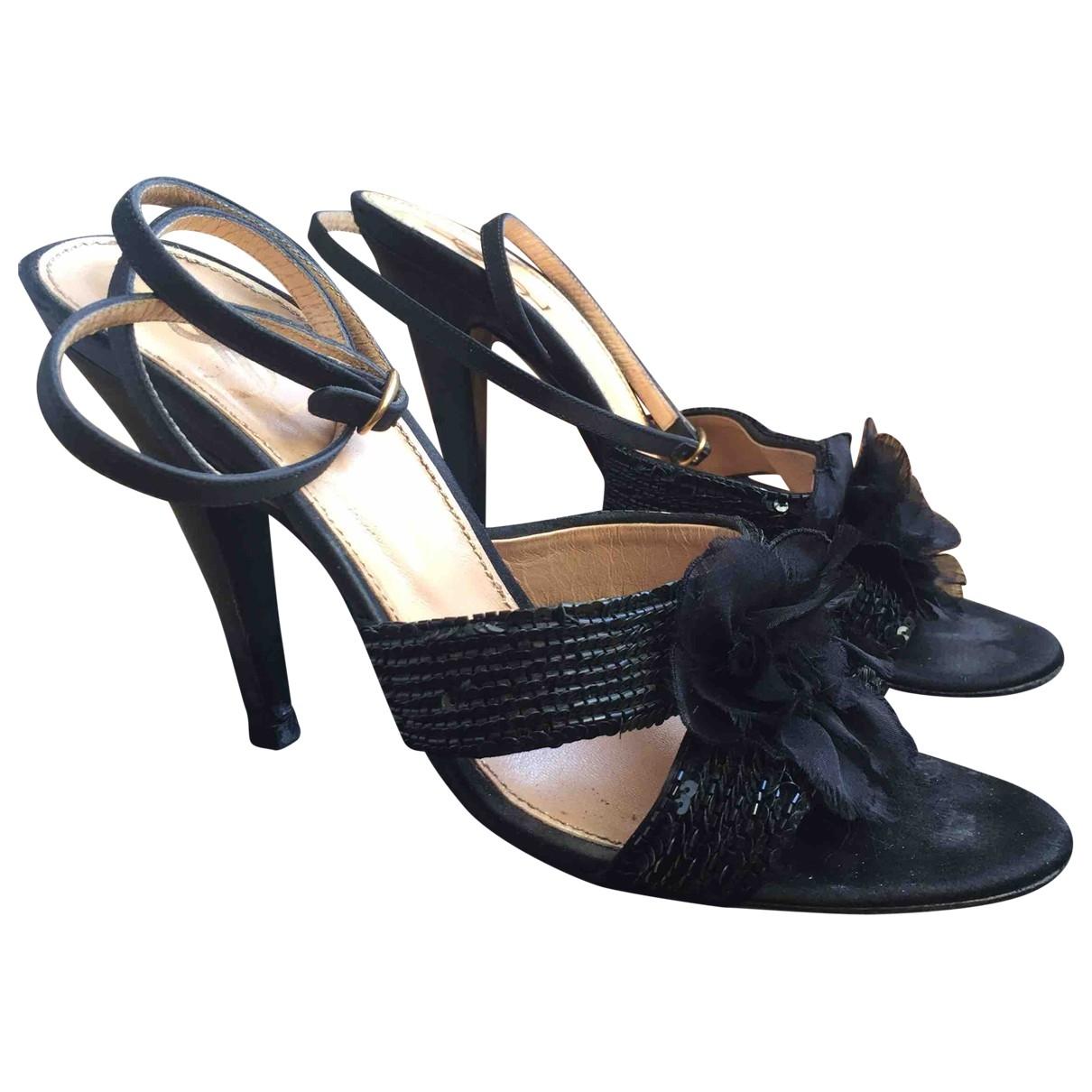 Yves Saint Laurent \N Black Glitter Sandals for Women 41 EU