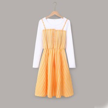 Button Front Striped 2 In 1 Dress