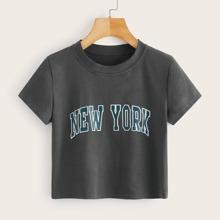 Crop T-Shirt mit Buchstaben Grafik