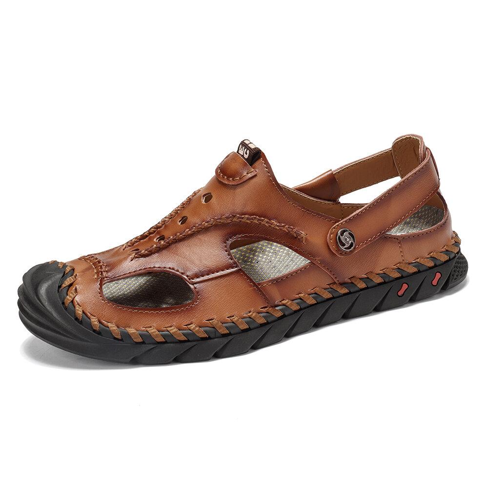 Menico Men Hand Stitching Non Slip Soft Sole Casual Leather Sandals