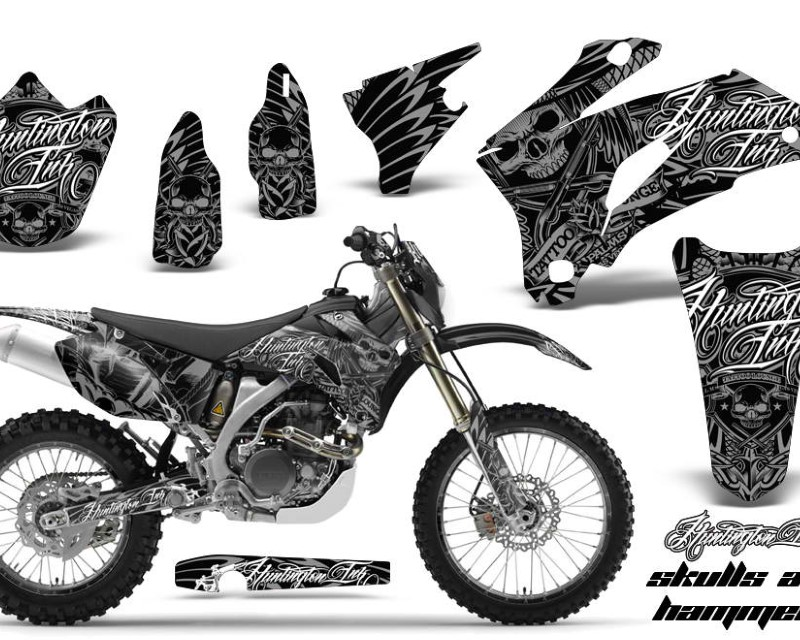 AMR Racing Graphics MX-NP-YAM-WR250F-07-14-WR450F-07-11-HISH S Kit Decal Wrap + # Plates For Yamaha WR250F 2007-2014 WR450F 2007-2011áHISH SILVER