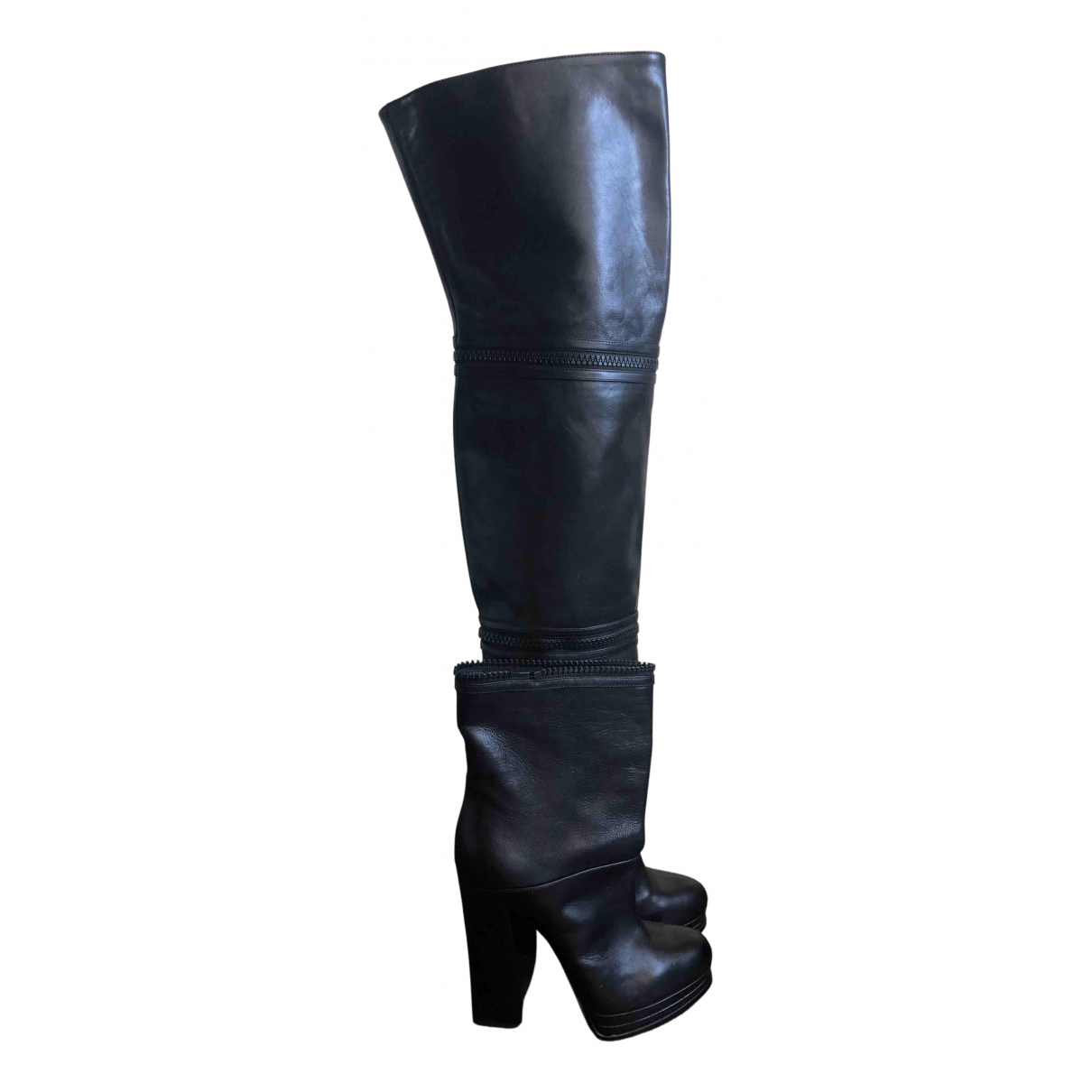 Casadei N Black Leather Boots for Women 38.5 EU