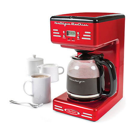 Nostalgia Retro 12-Cup Programmable Coffee Maker With LED Display, One Size , Red