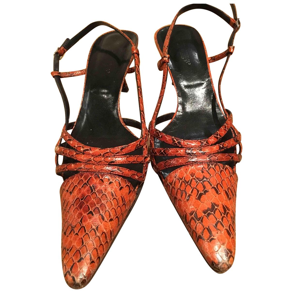 Dolce & Gabbana - Escarpins   pour femme en serpent deau - orange