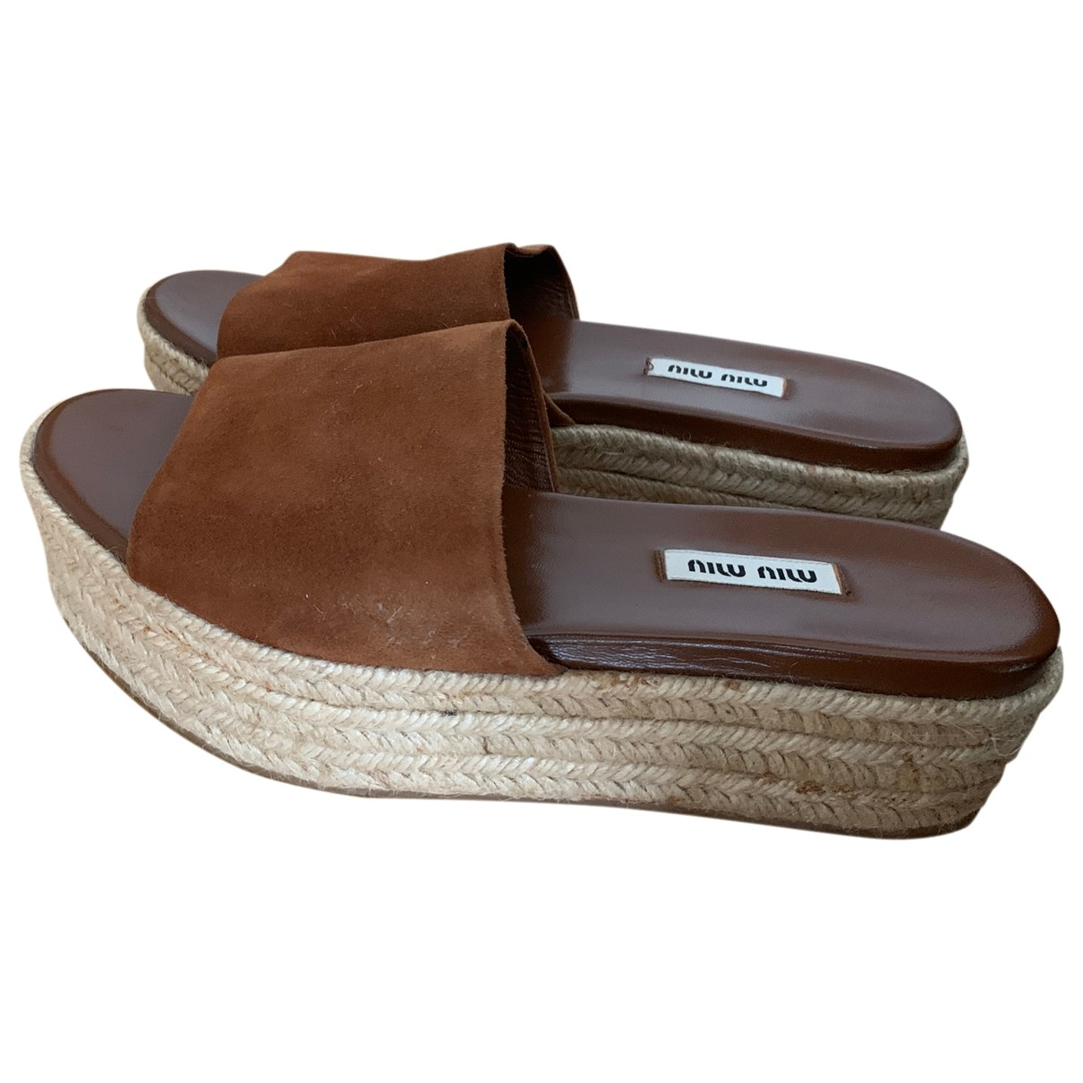Miu Miu \N Brown Leather Espadrilles for Women 38.5 EU