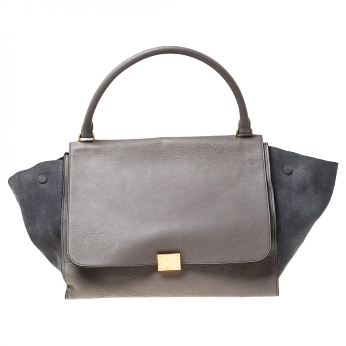 Celine Trapeze Handtasche in  Grau Leder