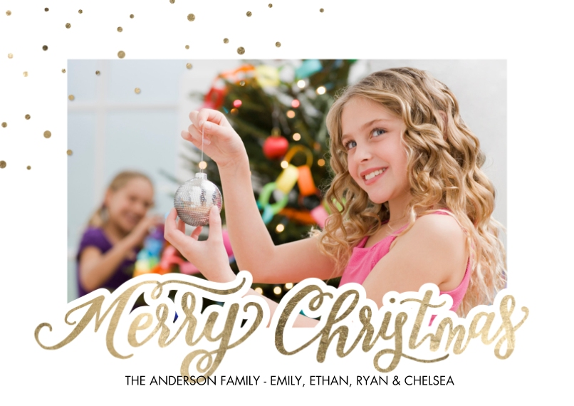 Christmas Photo Cards Flat Matte Photo Paper Cards with Envelopes, 5x7, Card & Stationery -Christmas Sparkling Dots Corner