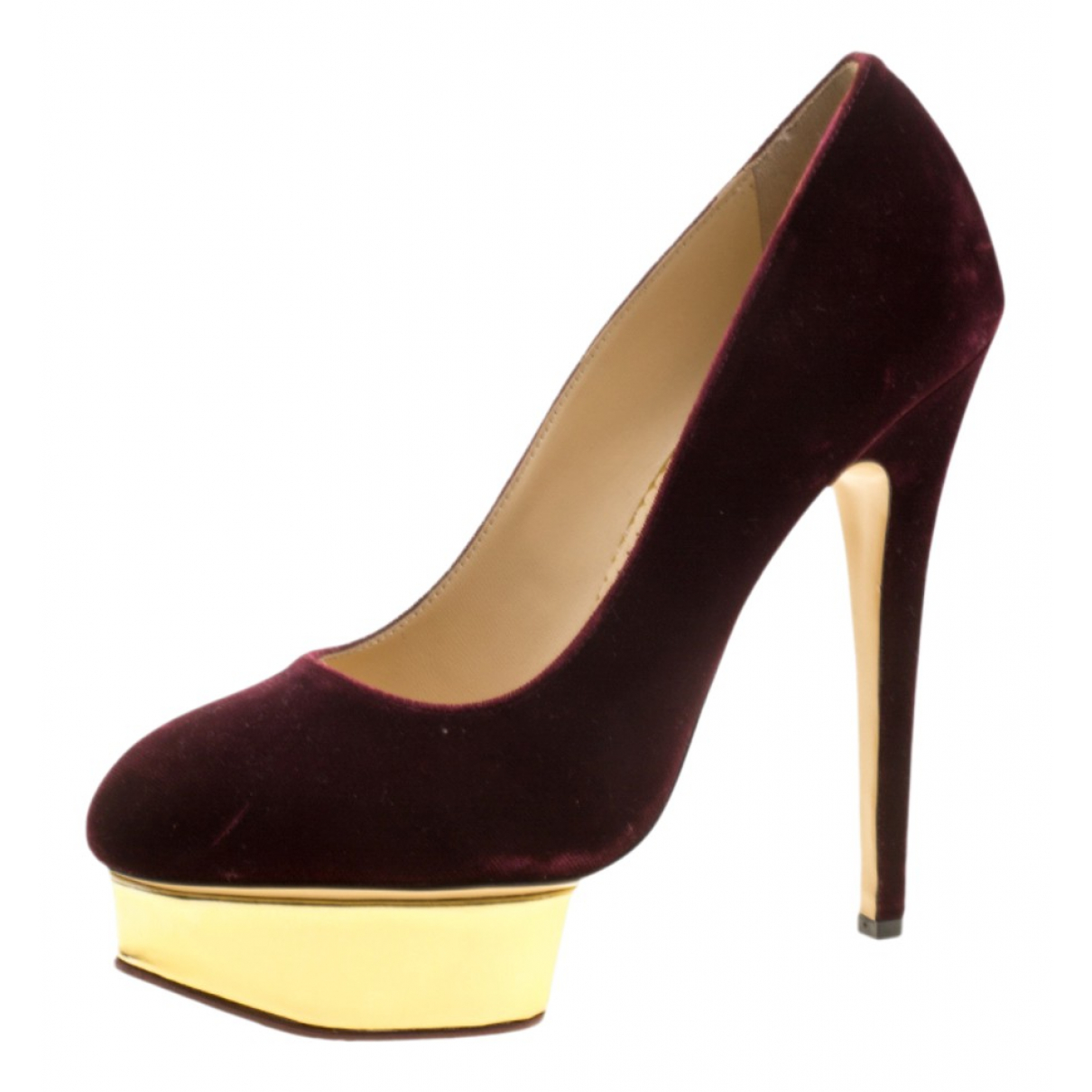 Charlotte Olympia Dolly Burgundy Leather Heels for Women 9.5 US