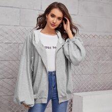 Sweatshirt mit sehr tief angesetzter Schulterpartie, Laternenaermeln, Reissverschlussleiste und Kapuze