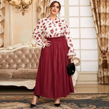 Camisa con estampado floral con falda