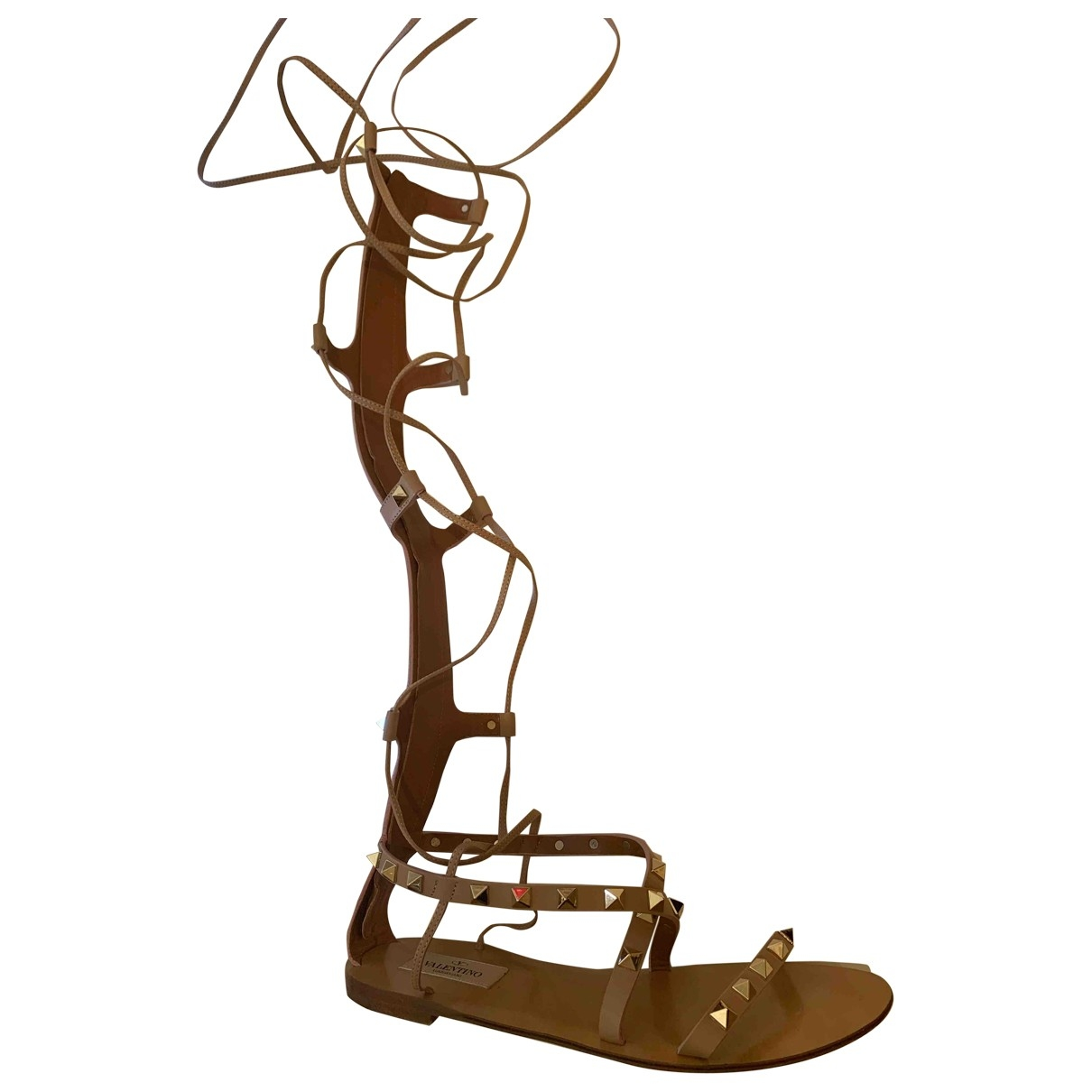 Valentino Garavani Rockstud Beige Leather Sandals for Women 36 EU