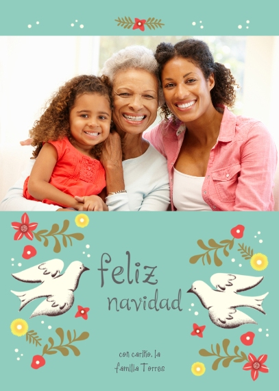 Tarjetas de Navidad Flat Glossy Photo Paper Cards with Envelopes, 5x7, Card & Stationery -Feliz Navidad Doves