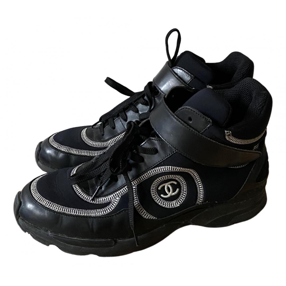Chanel - Baskets Ankle Strap pour femme en toile - noir