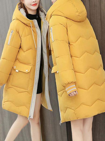 Milanoo Abrigos acolchados para mujer Bolsillos cortos naranjas Cremallera con capucha Mangas largas Bloque de color Ropa de abrigo informal de invier