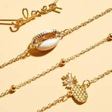 4pcs Shell & Pineapple Decor Bracelet