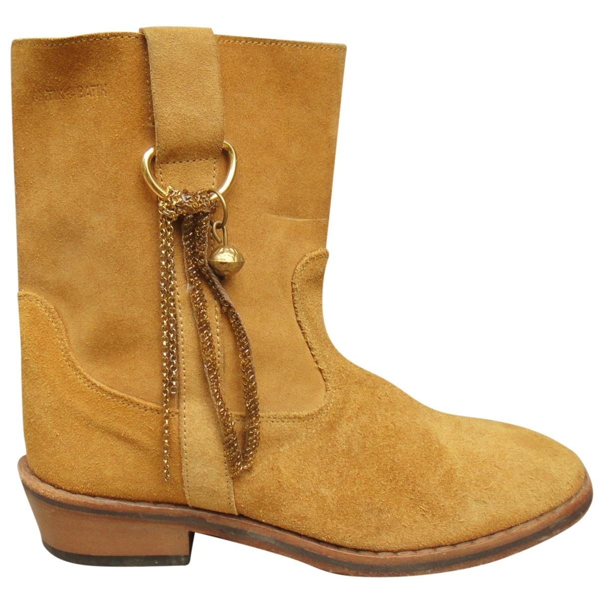 Antik Batik - Boots   pour femme en suede - jaune