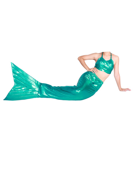 Milanoo Disfraz Halloween Moda Animal Zentai de cola metalico brillante verde sirena  Halloween