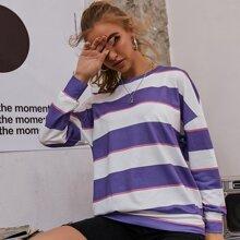Block Striped Drop Shoulder Oversized Sweatshirt