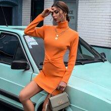Neon Orange Twist Front Sweater Dress