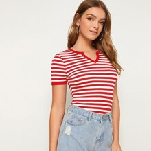 Notch Neck Striped Ringer Tee