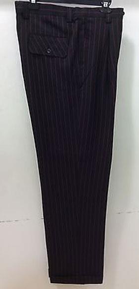 Men's Wide Leg Dress Slacks Stripe ~ Pinstripe Black/Red