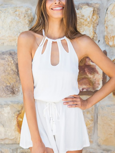 Yoins White Halter Cut Out Backless Playsuit