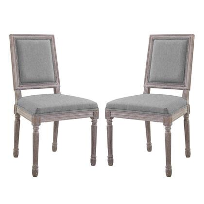 Court Collection EEI-3500-LGR Set of 2 Dining Side Chairs with Louis XVI Vintage French Design  Dense Foam Padding  Fluted Solid Wood Frame and