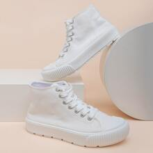 Lace Up Front High Top Canvas Shoes