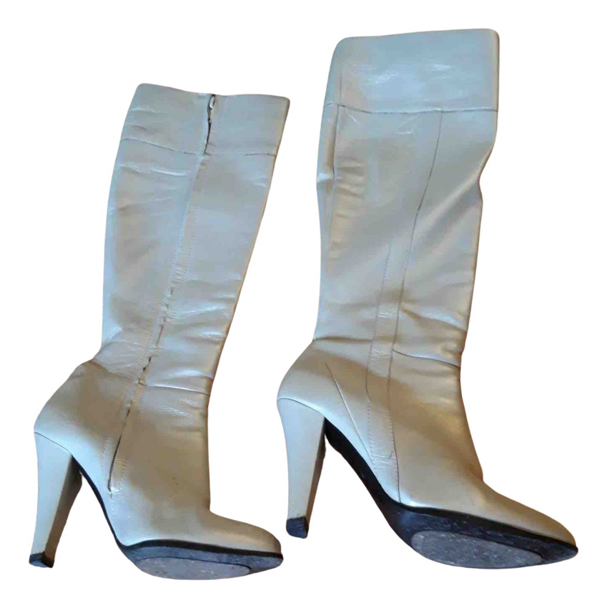 Costume National \N Stiefel in  Weiss Leder