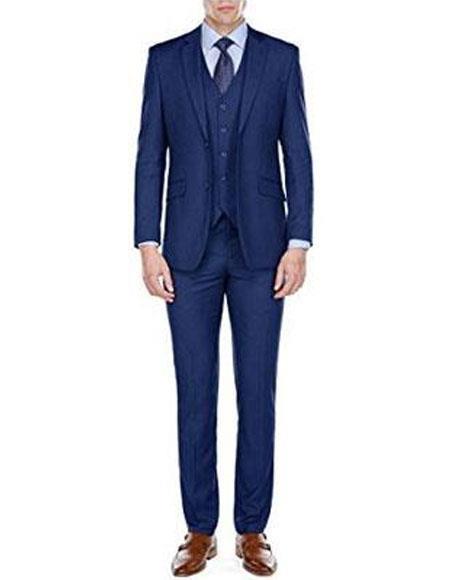 Men's Slim Fit Blue 3 Piece Single Breasted 2 Button Notch Lapel Suits