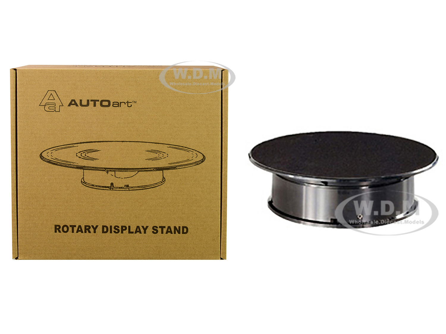 Rotary Display Turntable Stand Small 8 Inches with Black Top for 1/64 1/43 1/32 1/24 Scale Models by Autoart