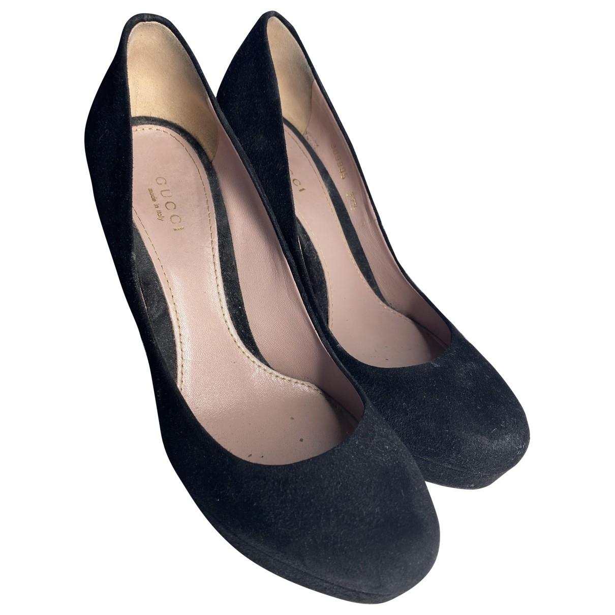Gucci \N Black Suede Heels for Women 37.5 EU
