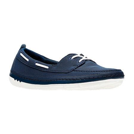 Clarks Womens Step Maro Sand Boat Shoes, 10 Medium, Blue